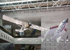 The Spirit of St. Louis and SpaceShipOne in the Milestones of Flight Gallery