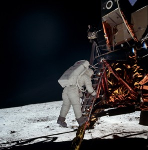 Astronaut Edwin E. Aldrin Jr., lunar module pilot, is about to become the second human being to walk on the Moon. This picture was taken by Astronaut Neil A. Armstrong, Apollo 11 commander, July 20, 1969.
